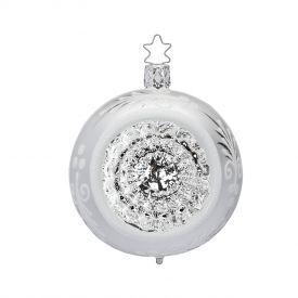 """Rankų darbo kalėdinis žaisliukas INGE-GLAS® """"Sidabro atspindžiai - burbulas"""", 8 cm, 1 vnt."""