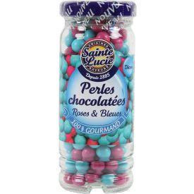 Šokoladiniai karoliukai SAINTE LUCIE, mėlyni ir rožiniai, 72 g