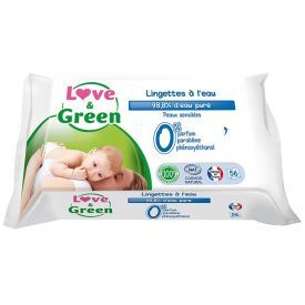 Ekologiškos vandens pagrindo servetėlės kūdikiams LOVE&GREEN, 56 vnt.