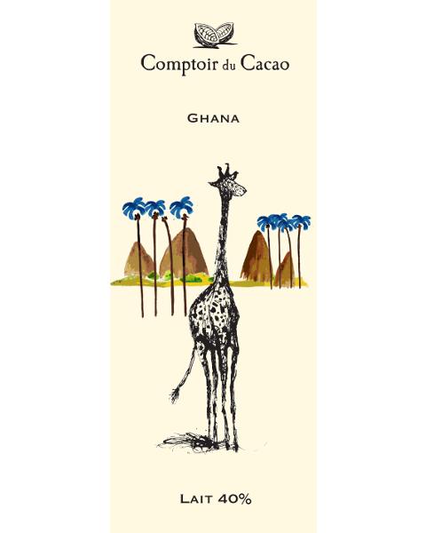 Pieninis šokoladas 40% COMPTOIR du CACAO Ghana, 80 g