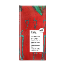 Ekologiškas juodasis 70% šokoladas VIVANI su čili pipirais, 100 g