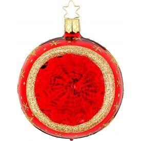 """Rankų darbo kalėdinis žaisliukas INGE-GLAS® """"Raudoni atspindžiai - burbulas"""", 10 cm, 1 vnt."""
