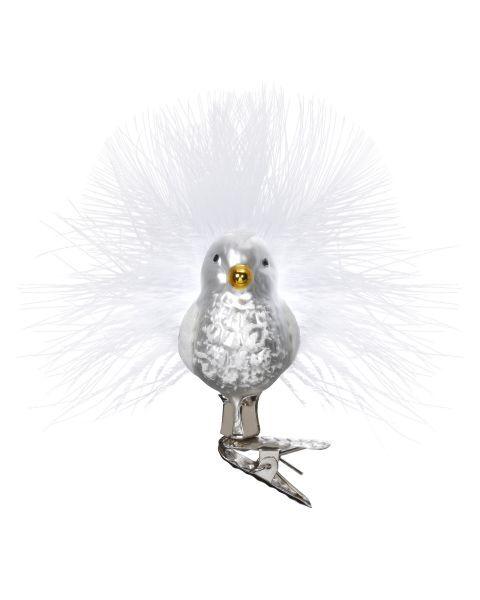 """Rankų darbo kalėdinis žaisliukas INGE-GLAS® """"Sniego paukščiukas"""", 5 cm, 1 vnt."""