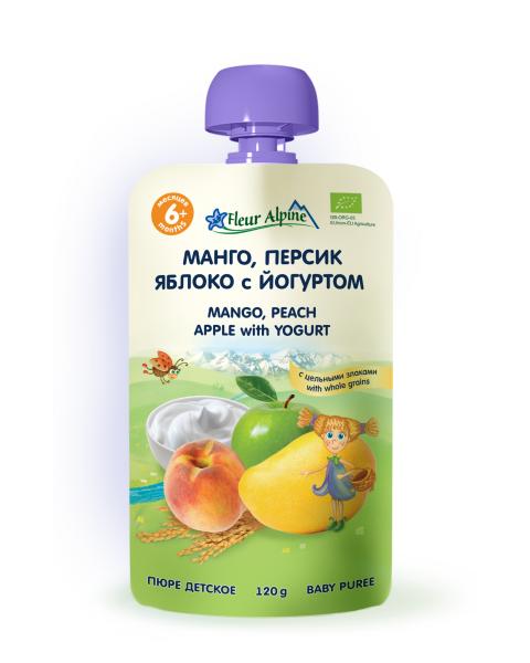 Ekologiška mangų, persikų, obuolių tyrelė FLEUR ALPINE su jogurtu kūdikiams nuo 6 mėn., 120 g
