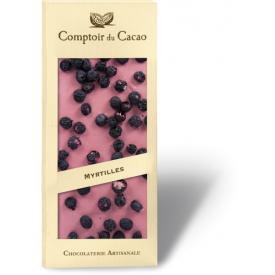 Rožinis šokoladas COMPTOIR du CACAO, su mėlynėmis, 90 g
