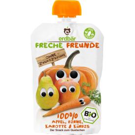 Ekologiška obuolių, kriaušių, morkų ir moliūgų tyrelė FRECHE FREUNDE, 100 g