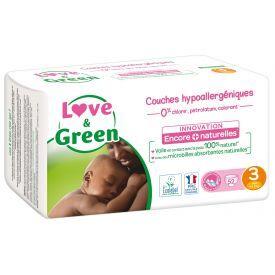 Ekologiškos sauskelnės LOVE&GREEN, 3 dydžio, 4-9 kg, 52 vnt.