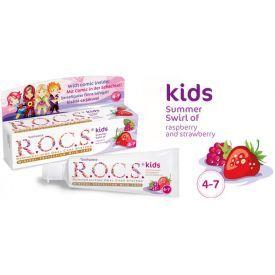 Dantų pasta R.O.C.S su avietėmis ir braškėmis vaikams nuo 4 iki 7 metų, 45 g