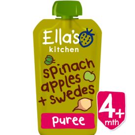 Ekologiška špinatų, obuolių ir ropių tyrelė ELLA'S KITCHEN kūdikiams nuo 4 mėn., 120 g
