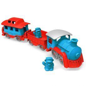Traukinukas GREEN TOYS ™ (mėlyna, raudona), 1 vnt.