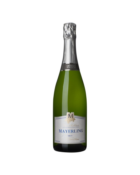 Baltasis putojantis sausas vynas Cave De Turckheim Mayerling Crémant Brut pagamintas Elzaso regione, Prancūzijoje