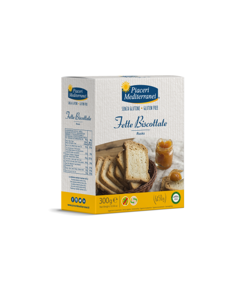 Traškios duonos riekelės Fette Biscottate PIACERI MEDITERRANEI, be gliuteno, 300 g