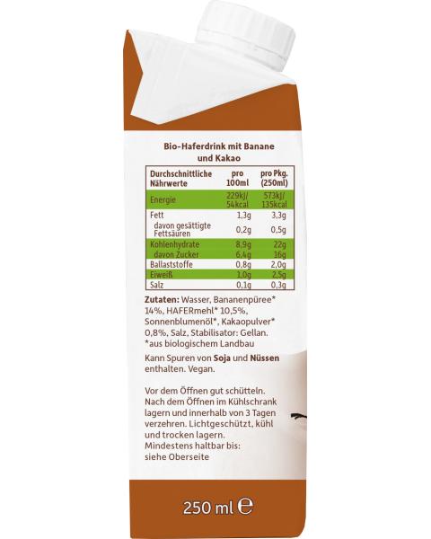 Ekologiškas avižų gėrimas FRECHE FREUNDE su bananais ir kakava, 250 ml 3