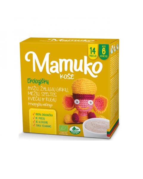 Ekologiškų avižų, šviesių grikių, miežių, kviečių speltos ir rugių kruopyčių mišinys košei MAMUKO vaikams nuo 6 mėn., 240 g