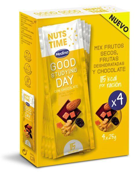 """Džiovintų vaisių ir riešutų mišinys NUTS TIME """"Good Studying"""", 4x25g"""