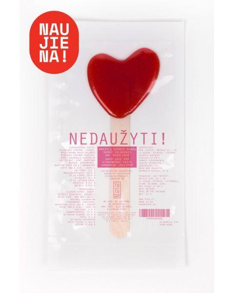 Braškių skonio saldainis ant pagaliuko Braškinė širdelė Tu Tu, 27g