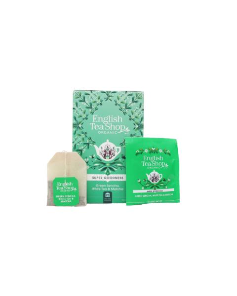Ekologiška arbata ENGLISH TEA SHOP Green Sencha, White Tea & Matcha, 20 maišelių 2