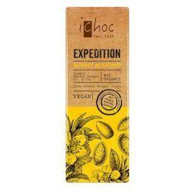 Ekologiškas veganiškas juodasis šokoladas ICHOC su migdolais ir kokosų žiedų cukrumi, 50 g