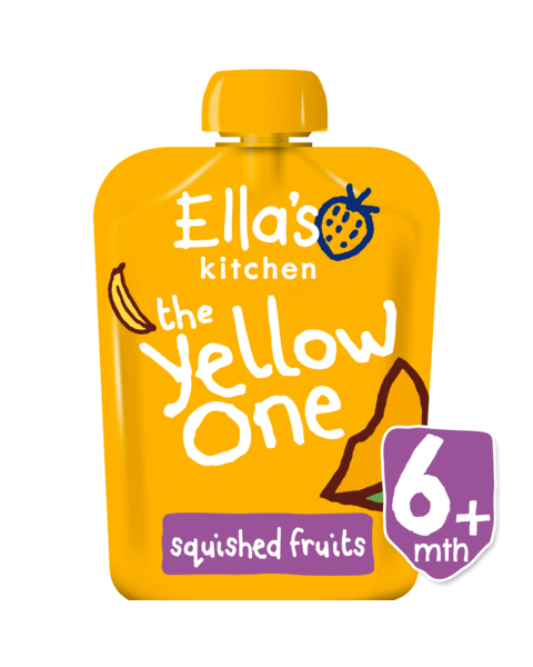 Ekologiška bananų, mangų, abrikosų ir obuolių tyrelė ELLA'S KITCHEN The Yellow One vaikams nuo 6 mėn., 90 g