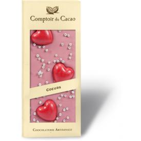 Rožinis šokoladas COMPTOIR du CACAO su širdelėm, 90 g