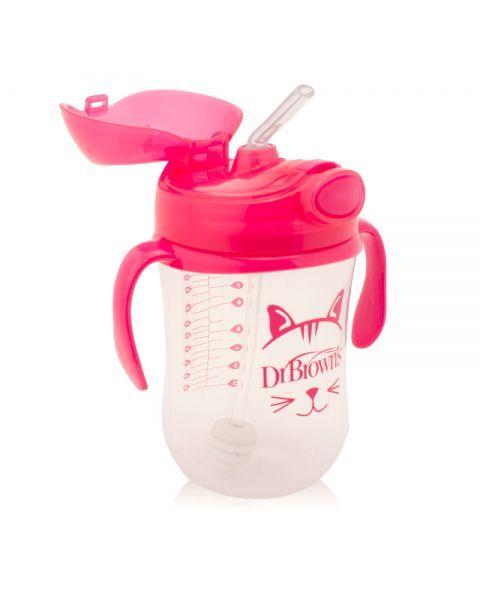 Rožinė gertuvė DR.BROWN'S su šiaudeliu ir svareliu, 270 ml 2