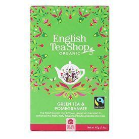 Ekologiška arbata ENGLISH TEA SHOP Green tea pomegranate, 20 maišelių