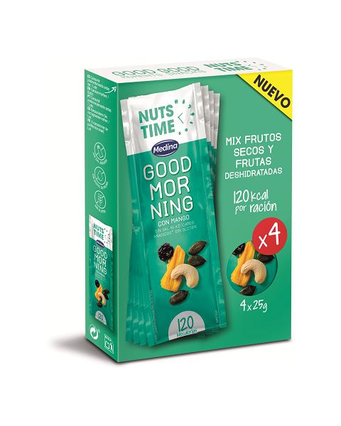 """Džiovintų vaisių ir riešutų mišinys NUTS TIME """"Good Morning"""", 4x25g"""