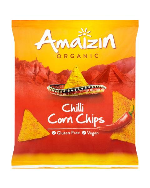 Ekologiški kukurūzų traškučiai AMAIZIN Chilli su aitriąja paprika, 75 g