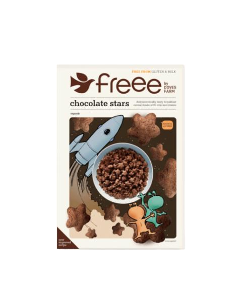 Ekologiški dribsniai DOVES FARM, šokoladinės žvaigždutės, 300 g