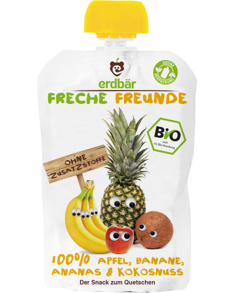 Ekologiška obuolių, bananų, ananasų ir kokosų tyrelė FRECHE FREUNDE, 100 g