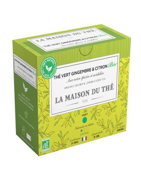 Ekologiška žalioji arbata LA MAISON DU THE Ginger and lemon Green Tea, 15 maišelių