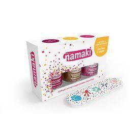 Vandeninių vaikų nagų lakų ir dildės rinkinys NAMAKI (avietinis, auksinis, purpurinis), 1 vnt.