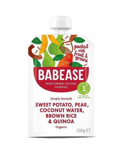 Ekologiška tyrelė su salžiosiomis bulvėmis, kriaušėmis, kokosų vandeniu, rudaisiais ryžiais BABEASE nuo 4 mėn., 100 g