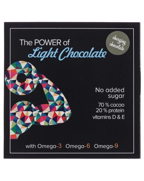 Juodasis šokoladas 70% CHARMING su kanapių baltymais, be cukraus, 60g
