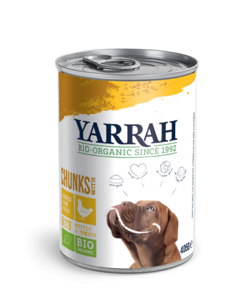 Konservuotas šunų maistas YARRAH su vištienos gabaliukais, 405 g