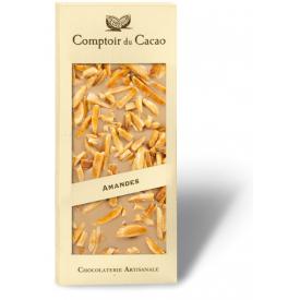 Šviesus šokoladas COMPTOIR du CACAO, su karamelizuotais migdolų riešutais, 90 g