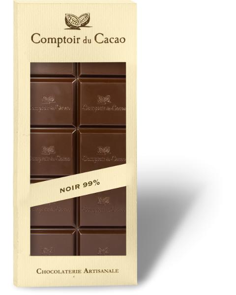 Juodasis šokoladas 99% COMPTOIR du CACAO, be cukraus, 80 g