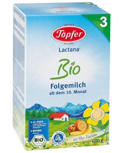 Tolesnio maitinimo pieno mišinys kūdikiams TÖPFER LACTANA BIO 3 nuo 10 mėn. (ekologiškas) 600 g