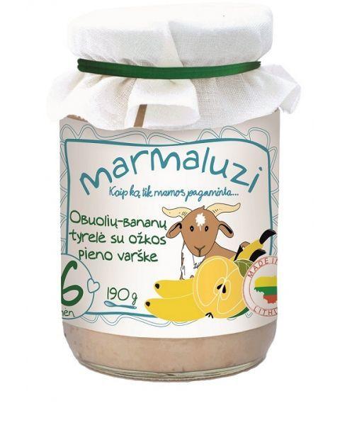 Obuolių ir bananų tyrelė MARMALUZI su ožkos pieno varške, 190 g