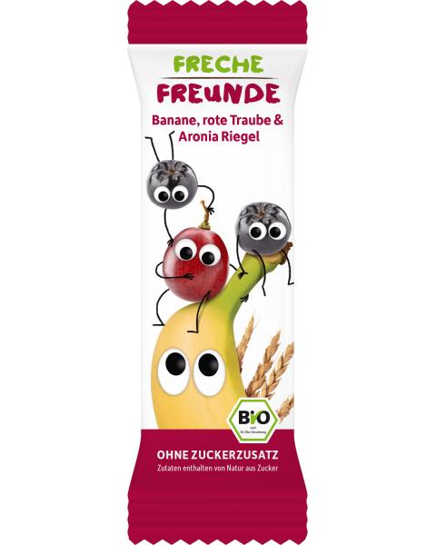 Ekologiškas javų batonėlis FRECHE FREUNDE su bananais, raudonosiomis vynuogėmis ir aronijomis, 4x23 g
