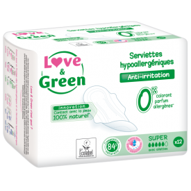 Ekologiški itin dideli higieniniai paketai LOVE&GREEN, 12 vnt.