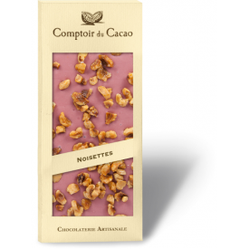Rožinis šokoladas COMPTOIR du CACAO, su riešutais, 90 g