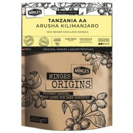 Kavos pupelės MINGES Origins Tanzania AA, 250g.
