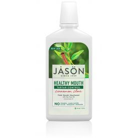 JASON HealthyMouth natūralus mažinantis akmenų susidarymą skalavimo skystis su cinamonu ir arbatmedžio aliejumi 473 ml.