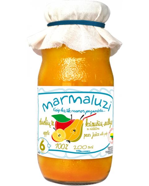 Obuolių ir kriaušių sultys su minkštimu MARMALUZI vaikams nuo 6 mėn., 200 ml