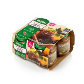 Obuolių ir slyvų tyrelė BLEDINA nuo 4-6 mėn., 4x130 g