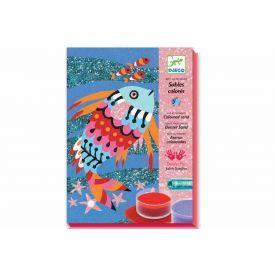 Rinkinys piešimui spalvotu smėliu DJECO Žuvų Vaivorykštė 6-11 metų vaikams (DJ08661)