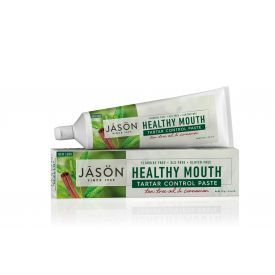 Akmenų susidarymą mažinanti dantų pasta JASON Healthy Mouth su arbatmedžiu ir cinamonu, 119 g