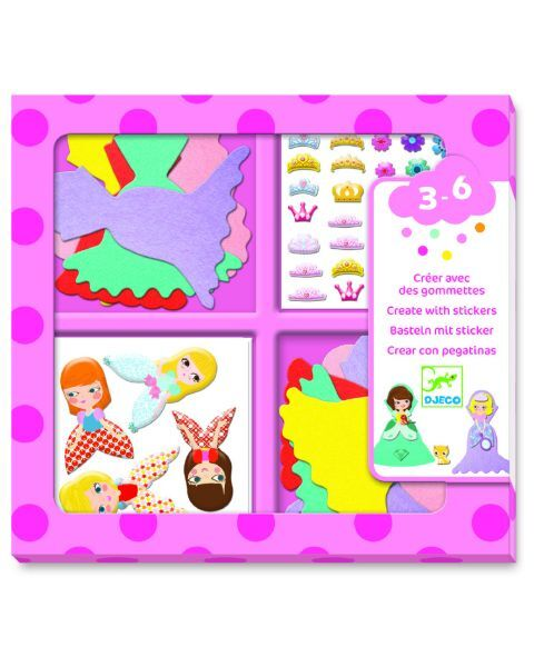 Kūrybinis lipdukų rinkinys DJECO I Love Princesses (DJ09053)