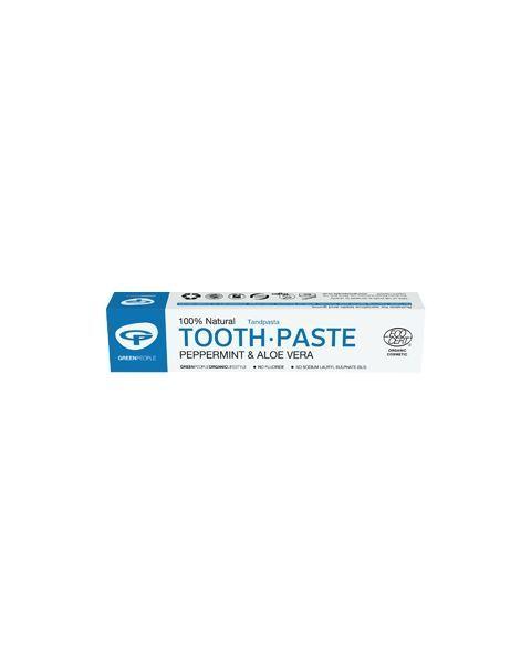 Ekologiška dantų pasta GREEN PEOPLE su alavijais ir pipirmėte, 50 ml